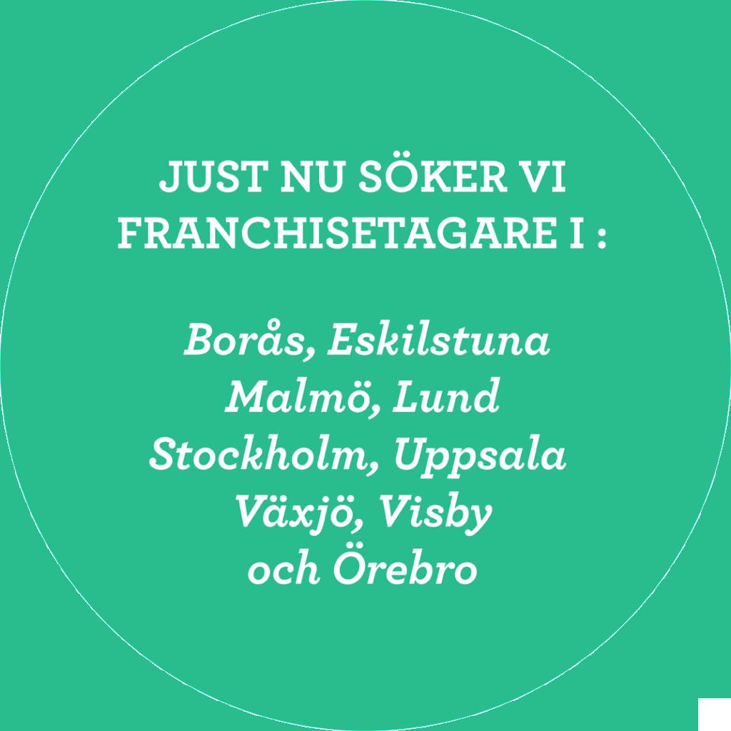 Just nu söker vi franchisetagare i Borås, Eskilstuna, Malmö, Lund, Stockholm, Uppsala, Växjö, Visby och Örebro